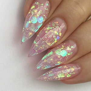 12 Shaped Holographic Nail Sequins Iridescent Mermaid Flakes Colorful Glitter - Wish.N Dreams