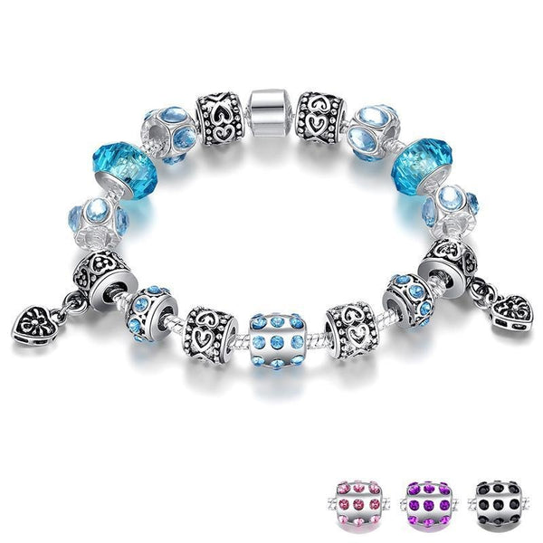 Crystal Charm Bracelet With Murano Glass Beads - Wish.N Dreams