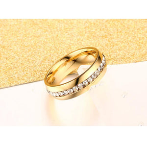Crystal wedding Band 6mm stainless steel - Wish.N Dreams