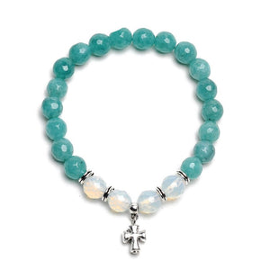 Natural stone bead cross charm bracelet - Wish.N Dreams