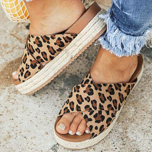 Leopard Sandals Summer Slippers Open Toe Platform Casual Shoes - Wish.N Dreams