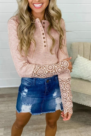 Lace Hollow Out Solid Woman  O-Neck Long Sleeve T Shirts - Wish.N Dreams