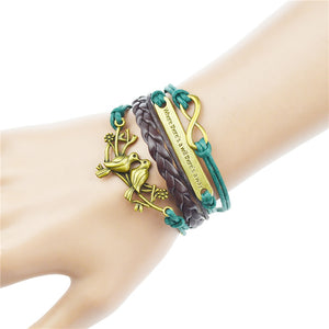 New Genuine Leather Charm Bracelet Cuff Braided Wrap Bracelet - Wish.N Dreams