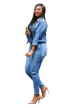 Vintage Plus Size Jeans Jumpsuit Turn Down Collar Long Sleeve  Denim Romper S-3XL - Wish.N Dreams