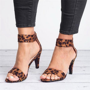 Square Heel Sandals Leopard High Heels Buckle Strap Sandal Shoes - Wish.N Dreams
