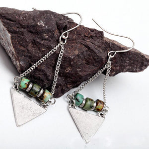 Boho Style Antique Look  Natural Stone Bead Triangle Dangle Earring - Wish.N Dreams