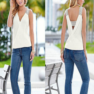 Sleeveless Summer Top Casual Fashion V-neck Casual Blouse - Wish.N Dreams