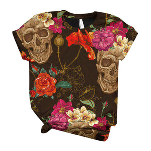 T Shirt Women Plus Size Women Short Sleeve Skull Printed O-Neck - Wish.N Dreams