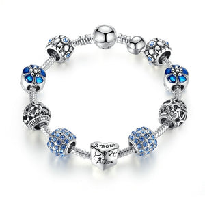 Charm Bracelet & Bangle with Love and Flower Beads - Wish.N Dreams