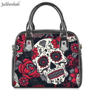 Shoulder Bag 2Pcs/set Red/Blue Rose Sugar Skull Pu Leather Messenger/Crossbody Handbag/Wallet - Wish.N Dreams