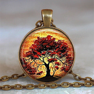 Tree Of Life Glass Cabochon Statement Necklace - Wish.N Dreams