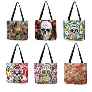 Floral Skull Tote Bags   Shopping Bags Traveling Bags - Wish.N Dreams