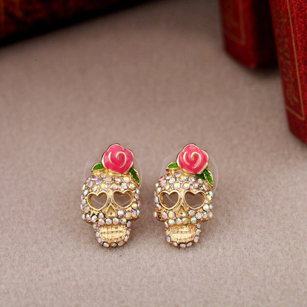 Cute Pink Multicolor Rose Rhinestone Skeleton Skull  Stud Earrings ry - Wish.N Dreams