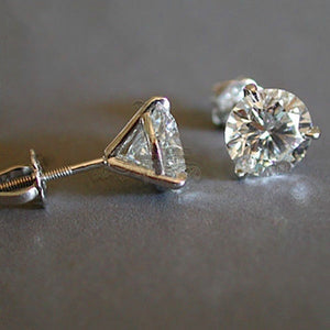 Stunning  round lab created diamond earrings set in 100% real 925 sterling silver earrings - Wish.N Dreams