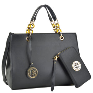 Dasein Saffiano Leather Chain Strap Satchel with Matching Wallet - Wish.N Dreams