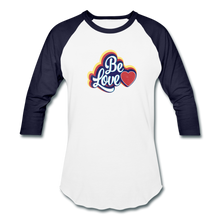 Load image into Gallery viewer, Be Love Baseball T-Shirt - white/navy