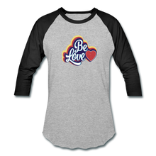 Load image into Gallery viewer, Be Love Baseball T-Shirt - heather gray/black