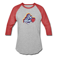 Load image into Gallery viewer, Be Love Baseball T-Shirt - heather gray/red