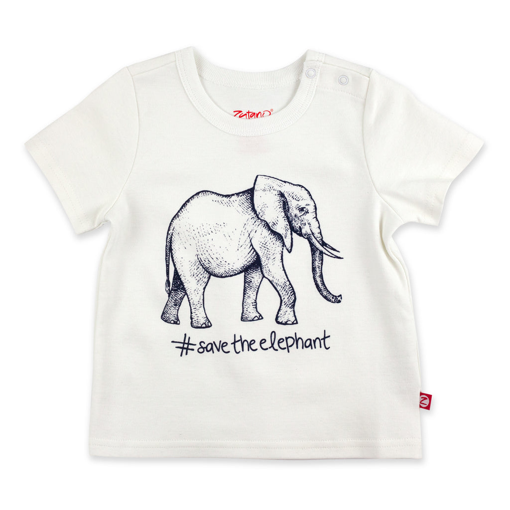 Save The Elephant Organic Cotton Short Sleeve Tee