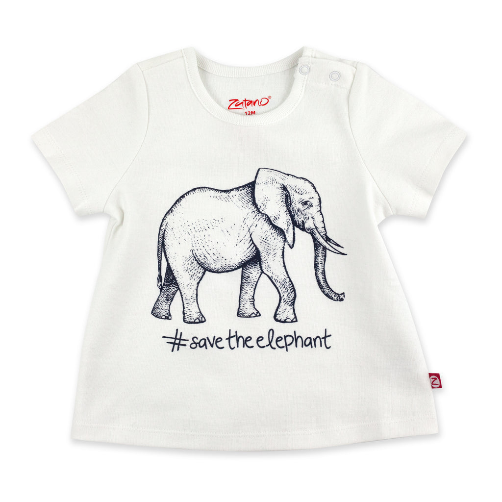 Save The Elephant Organic Cotton Short Sleeve Swing Top