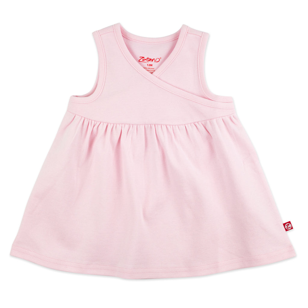 Organic Cotton Surplice Dress - Baby Pink