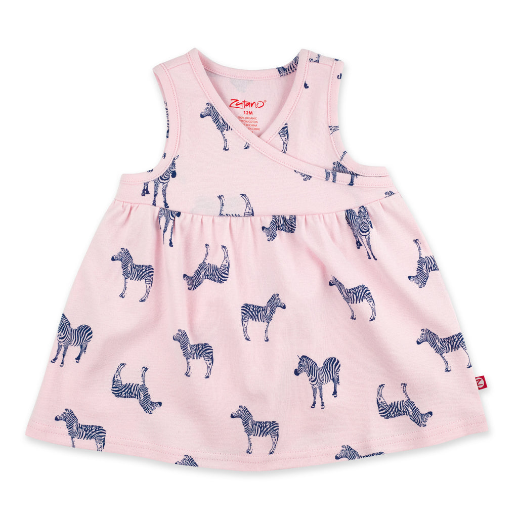 Zebra Organic Cotton Surplice Dress - Baby Pink
