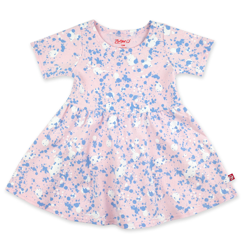 Paint Splatter Organic Cotton Forever Dress - Baby Pink