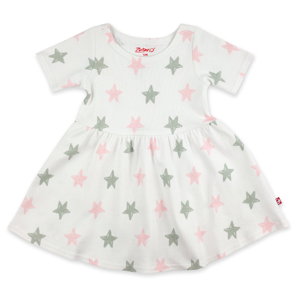 Stars Organic Cotton Forever Dress - Baby Pink