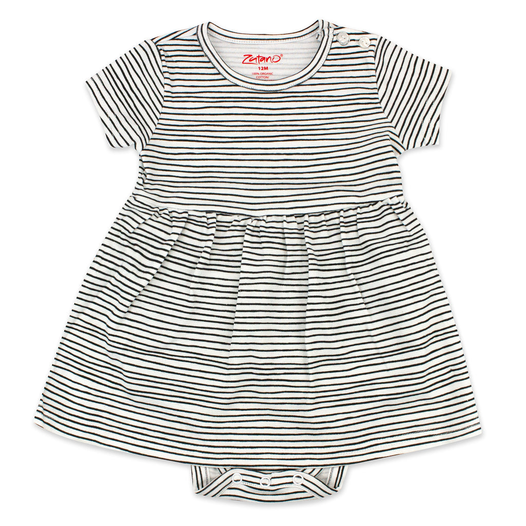 Pencil Stripe Organic Cotton Romper Dress