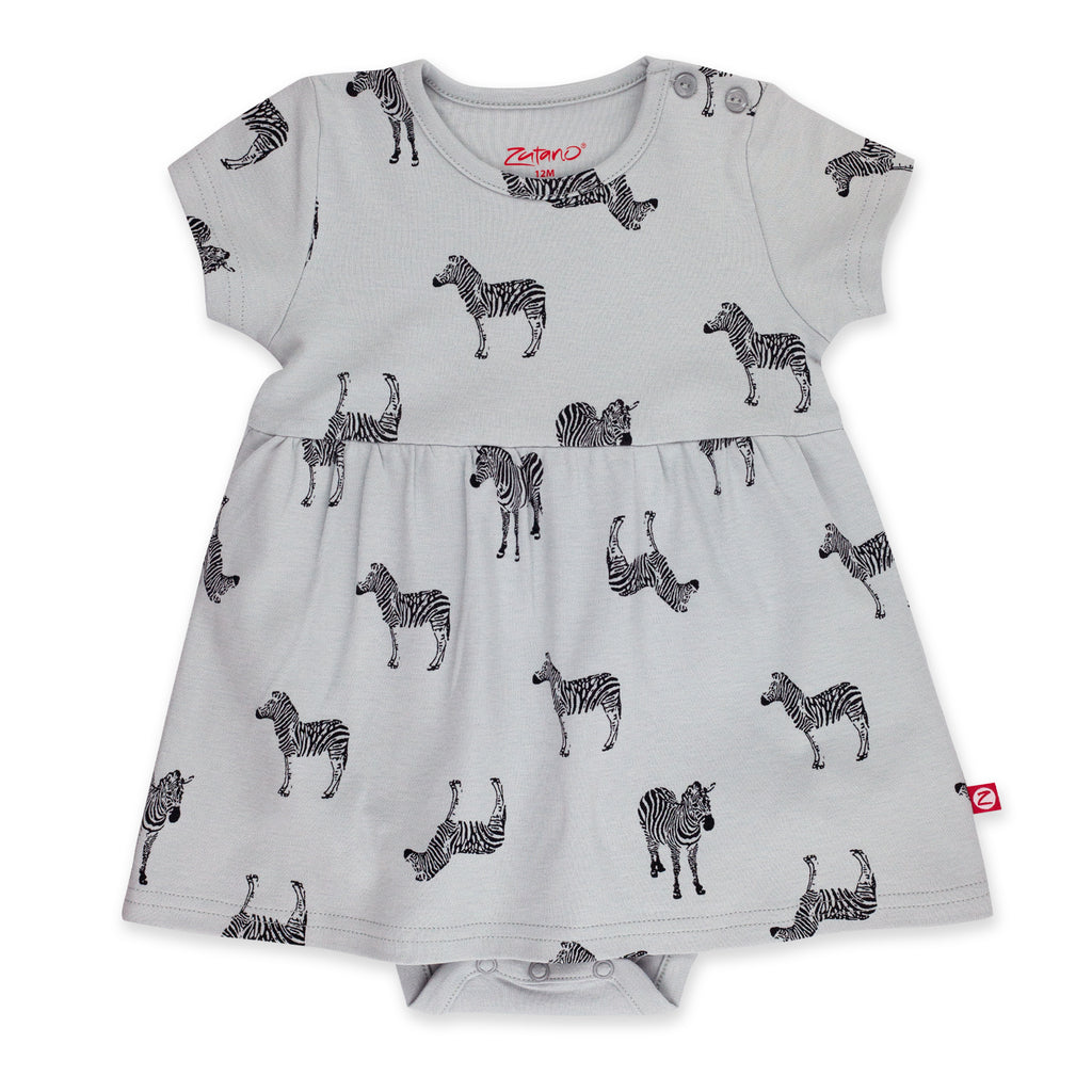 Zebra Organic Cotton Romper Dress - Light Gray