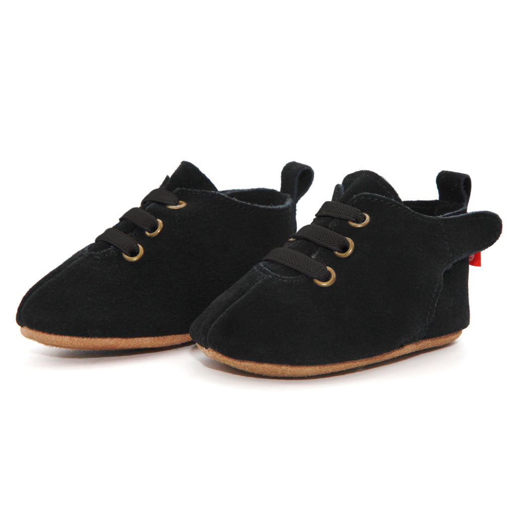 Black Suede Leather Oxford Baby Shoe