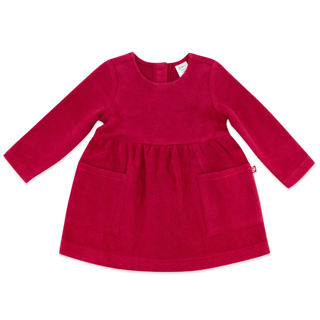 Zutano baby Dress Cozie Fleece Dress - Cranberry