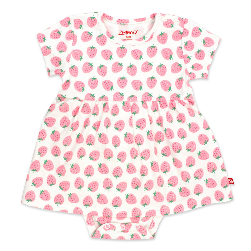 Zutano baby Dress Strawberry Organic Cotton Romper Dress