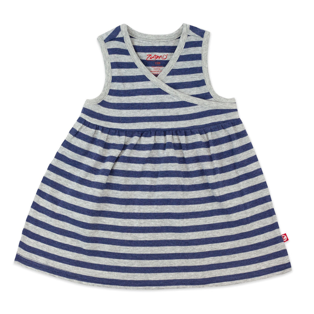 Zutano baby Dress True Navy Heather Stripe Organic Cotton Surplice Dress