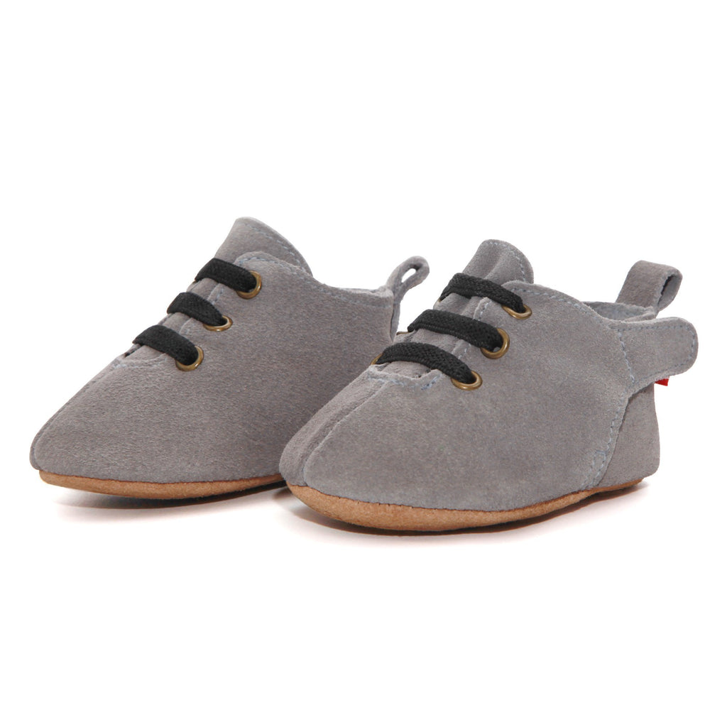 Zutano baby Shoe Dark Gray Suede Leather Oxford Baby Shoe