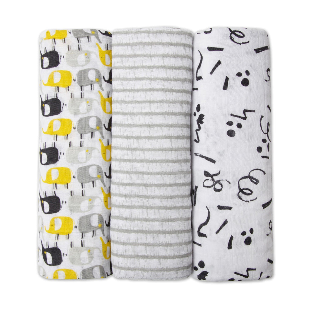 Zutano baby Swaddle Yellow Elephant Swaddle Pack