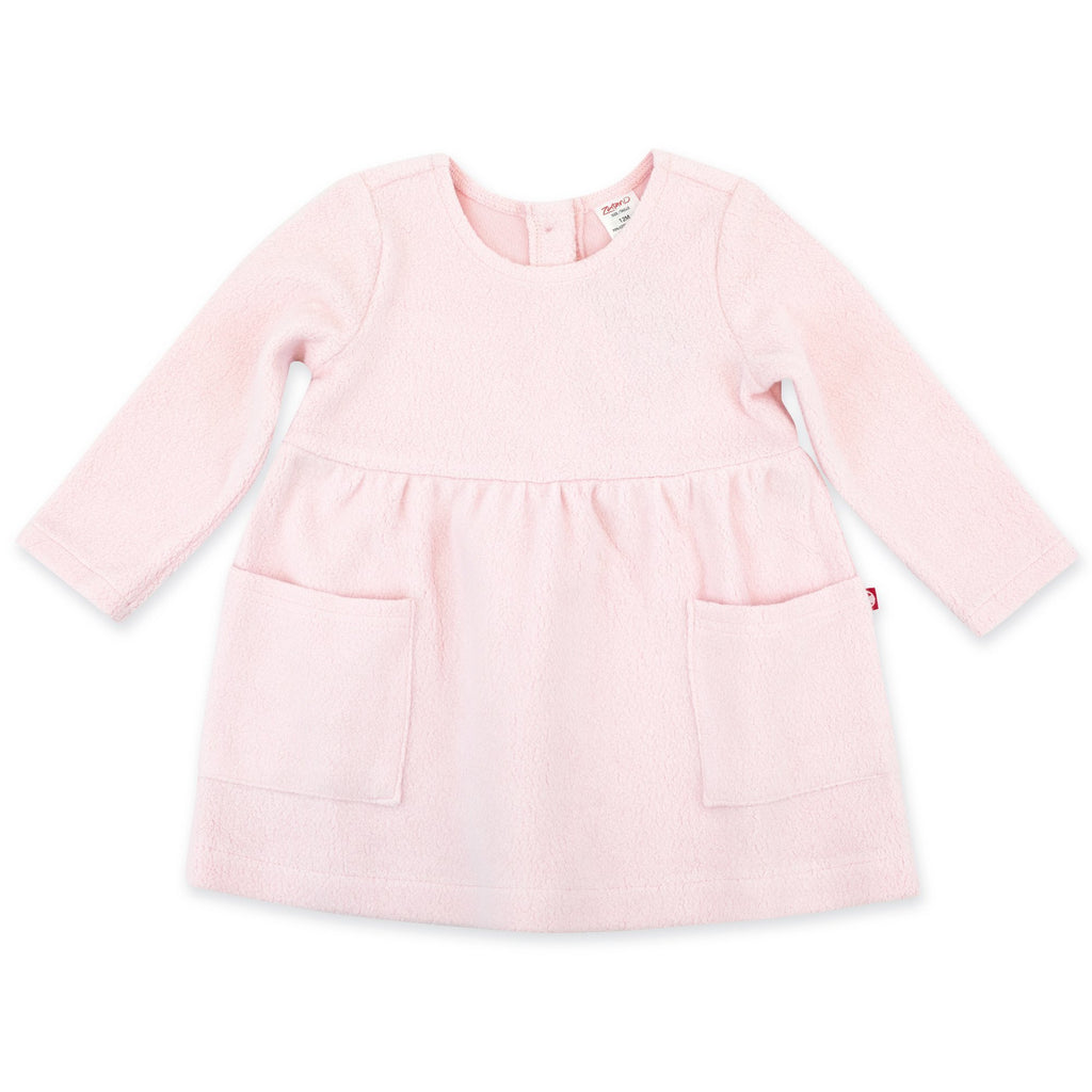 Zutano Dress Cozie Fleece Dress - Baby Pink