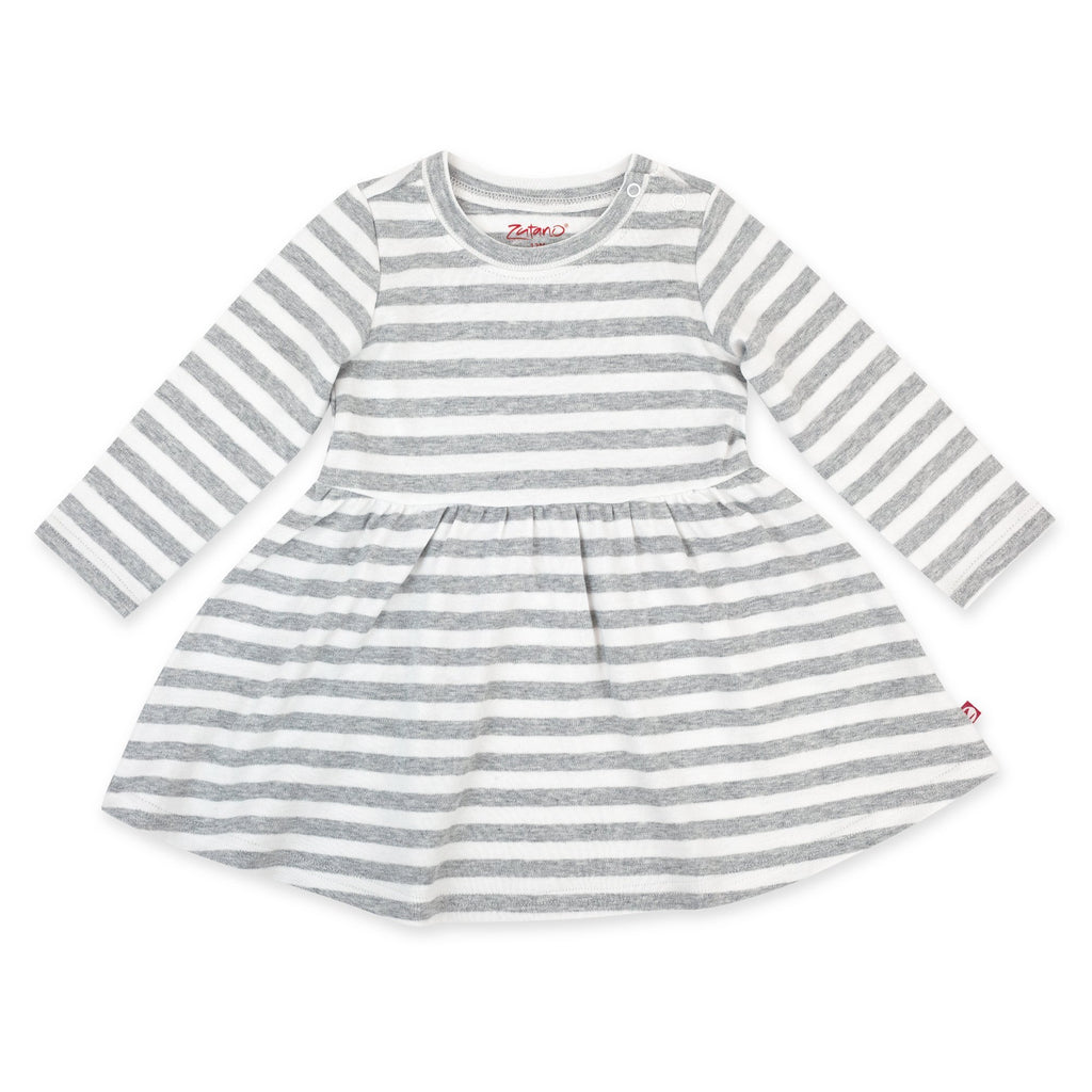 Zutano Dress Heather Stripe Organic Cotton Long Sleeve Forever Dress