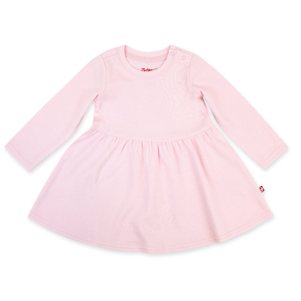 Zutano Dress Organic Cotton Long Sleeve Forever Dress - Baby Pink