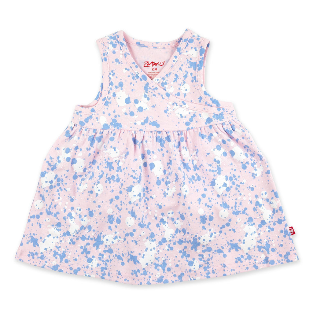 Zutano Dress Paint Splatter Surplice Baby Dress - Baby Pink