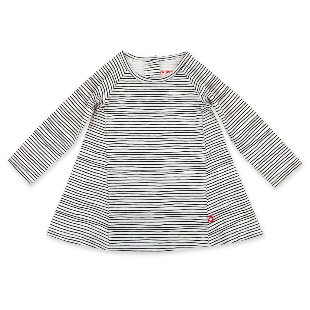 Zutano Dress Pencil Stripe Organic Cotton Long Sleeve Trapeze Dress