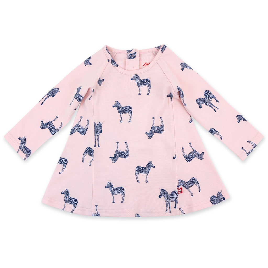 Zutano Dress Zebra Organic Cotton Long Sleeve Trapeze Dress - Baby Pink