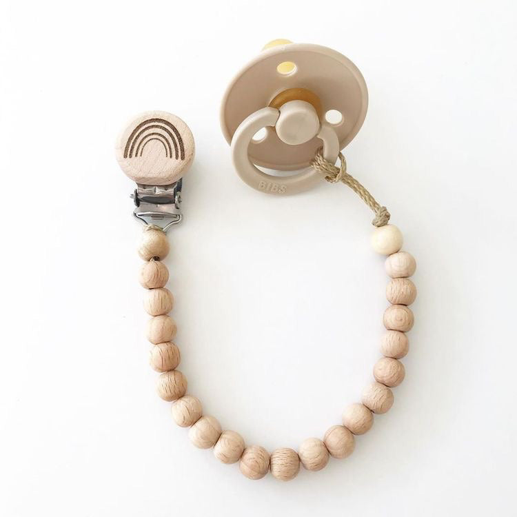 natural wooden beaded dummy clip | petite.