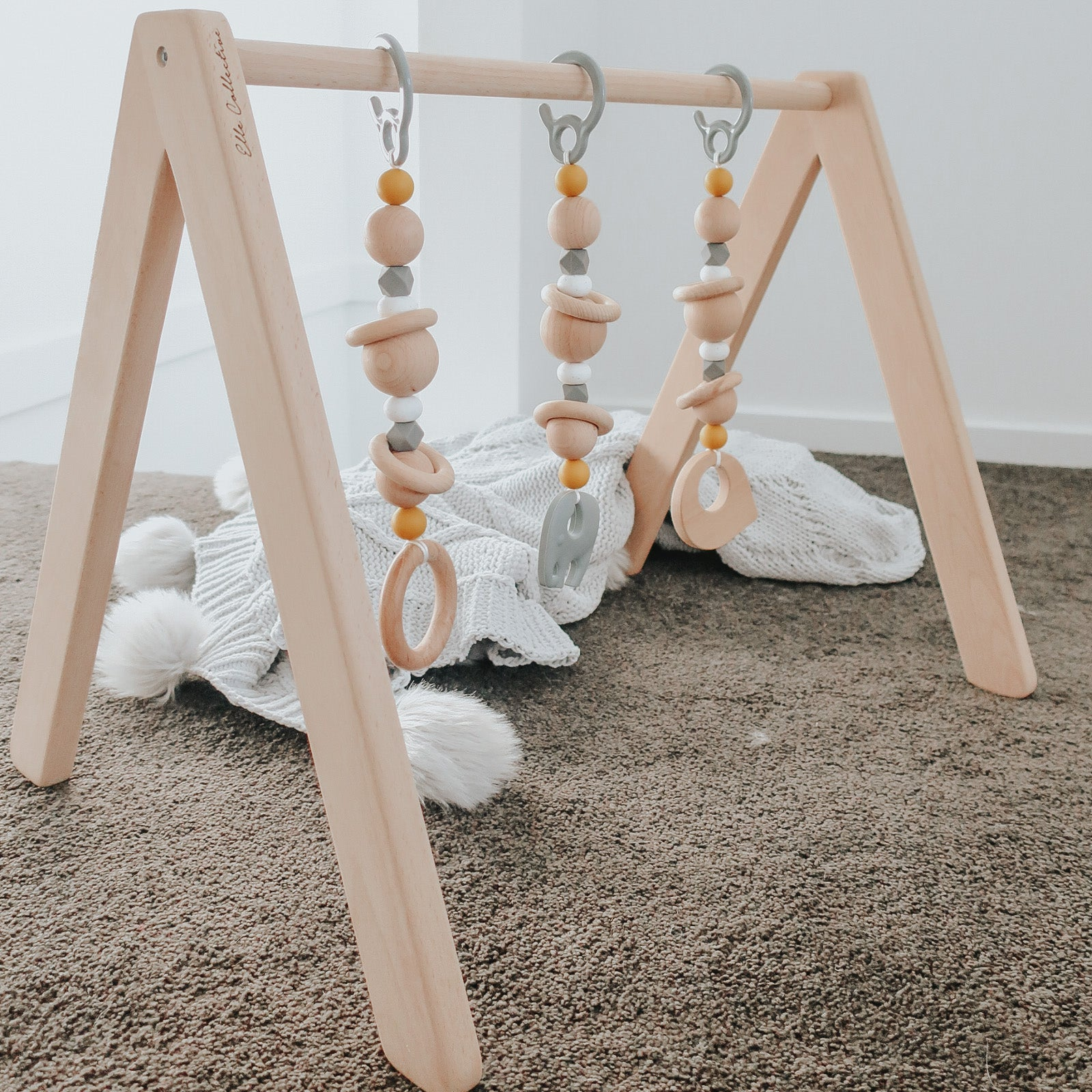 luxe elephant play gym toys | set of three.