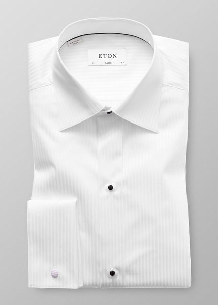CLASSIC FIT SATIN STRIPE FORMAL SHIRT