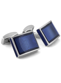RECTANGLE BLUE ENAMEL CUFFLINKS