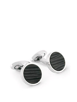 LEATHER GRAFFIATO EFFECT CUFFLINKS