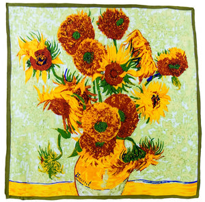 Sunflowers Silk Scarf Van Gogh - 90CM - Artsyez Unique Art Gifts