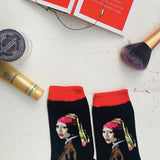 VERMEER'S GIRL WITH A PEARL EARRING CREW SOCKS - Artsyez Unique Art Gifts