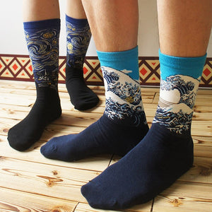 HOKUSAI'S GREAT WAVE CREW SOCKS - Artsyez Unique Art Gifts